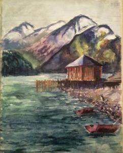 Pintura que refleja épocas de paseos con botes a motor, cuando la botera estaba en el muelle.
